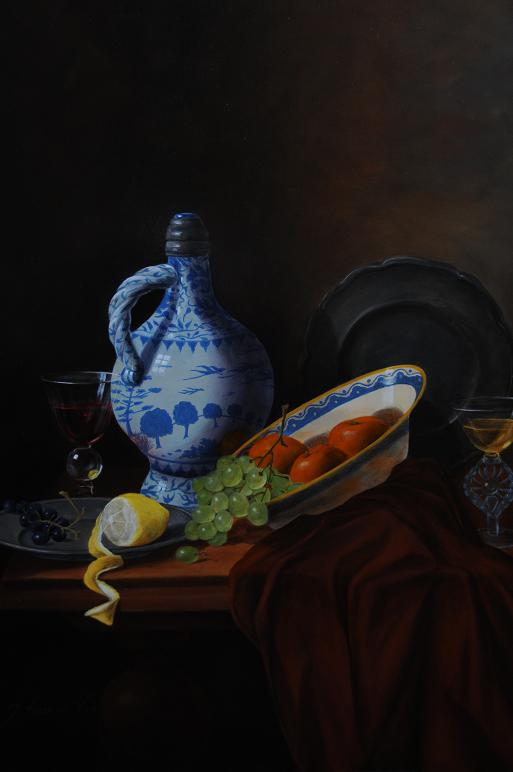 still life with blue vase and tinware.R